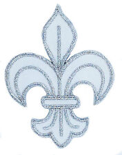 PATCH PATCHES FLEUR DE LIS LYS EMBROIDERED FRANCE FRENCH ROYAL CROSS WHITE