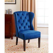 ABBYSON LIVING Sierra Tufted Navy Blue Velvet Wingback Dining Chair