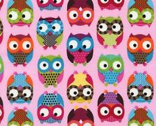 Timeless Treasures Fabric - Pink Owls - Flannel