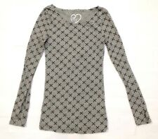 RUE21 Women's T-Shirt Blouse Long Sleeve Gray Cross Small *FREE SHIPPING* A352