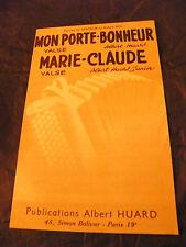 Partition Mon porte Bonheur Marie Claude Albert Huard Valse