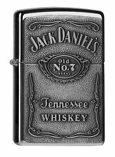 Zippo Jack Daniel's Label chrome mit submitted on Plate Petrol lighter 60001209