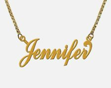 GOLD PLATED Personalized LARGE Name Necklace ANY NAME of 6 to 8 LETTERS