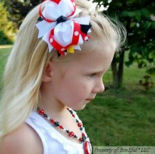"BonEful RTS NEW Girl Disney Red Black Yellow White Dot 4"" Mickey Minnie Hair*Bow"