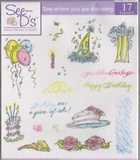 BNIP See D's 17 Rubber Stamp Set, Acrylic Block & Pad - Piece of Cake - Birthday