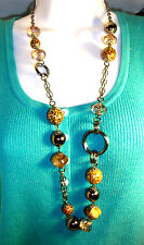 "Necklace 32"" in gunmetal chain w/ tinted, marbled, leopard print big beads NEW !"