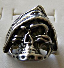 GOTHIC ~ S/STEEL ~ SIZE:9 ~ SCULL_WITH_CAP  ~  RING -- (GREAT_CHRISTMAS_GIFT)