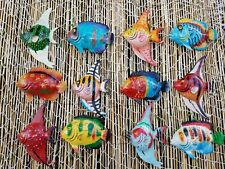 MULTI COLOR EXOTIC SET OF (12) DECORATIVE WALL DECOR FISH WITH FREE FISH NET!