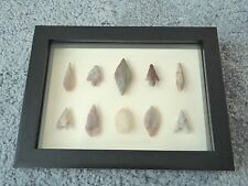 Neolithic Arrowheads in 3D Picture Frame, Authentic Artifacts 4000BC (0180)