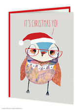 Brainbox Candy Wildstyle It's Christmas Yo! funny owl animals card quirky modern
