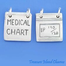 MEDICAL CHART MOVABLE OPENS DOCTOR NURSE .925 Sterling Silver Charm HEALTH