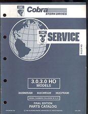 1992 OMC  / COBRA STERN DRIVE PARTS MANUAL 3.0 HO / 3.0 LITRE MODELS