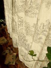 """ONE 84"""" French Toile Burlap curtain RUSTIC Ruffles Figures Black w Check tieback"""