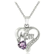 Sterling Silver Gemstone & Diamond Accent Mom Heart Necklace