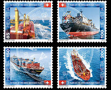 Switzerland 2016 - 75 years of the Swiss merchant fleet stamp set mnh