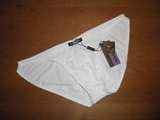 Mens Large Brave Person Sexy Nylon Spandex Low Rise Briefs White Full Back Gay