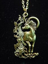 """JJ"" Jonette Jewelry Bronze Pewter 18"" UNICORN with Sparkles Necklace"