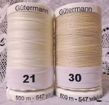 NEW Off White & Beige GUTERMANN 100% polyester Sew-all thread 547 yards Spools