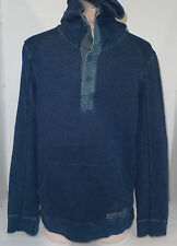 ARMANI EXCHANGE Mens Distress Hoodie 1/3 Button Sweatshirt Blue Jean Look Small