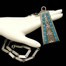 WHITING DAVIS Vintage Necklace Faux Turquoise Egyptian Pendant Silver Plated
