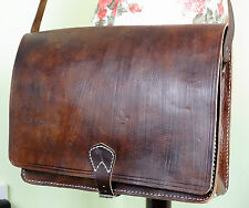 Vintage Classic Distressed Dark Tan Brown Leather Satchel Shoulder Bag Moroccan