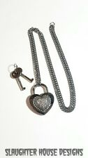 SHD Rhinestone Heart Lock Padlock Necklace Permanent Day Collar BDSM Submissive