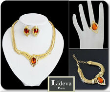 Set Statement Kette Armband Ohrringe Ring Schmuckset Halskette Vergoldet Amber