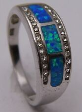 Ring Sz 7 w/Triple Bar Simulated Opal & Clear CZ Accents 925 Sterling Silver