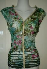 George Asda Gold Trim Floral Tropical Chiffon Feel Green Top Loose Fit Size 10