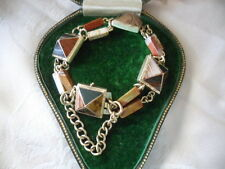 Antique Victorian vintage 9ct Gold old Scottish Agate Bracelet safety chain 9 ct