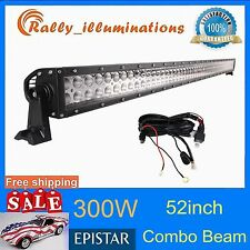 "52"" 300W SPOT FLOOD LED LIGHT BAR FOG OFFROAD JEEP 4WD With WIRING KIT 120W-240W"