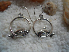 KABANA Sterling Silver JUMPING DOLPHINS SEA LIFE EARRINGS Small Size #15157