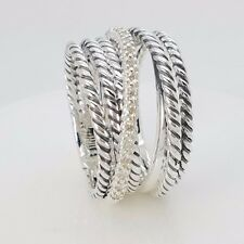 David Yurman Sterling Silver 11mm Cable Crossover Diamond Wide Ring Size 8