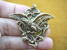 b-bird-2) Bald Eagle flying wings spread bird Calla Lily flower BRASS pin brooch