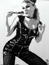 Pop Art Original Oil Painting by Terry P Wylde : Florence in Fishnet Stockings