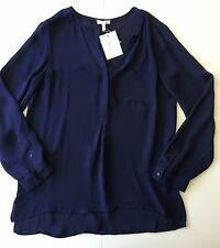 NEW $248 JOIE SMALL SILK NAVY BLUE BLOUSE TOP SHIRT V NECK TUNIC LONG NORDSTROM