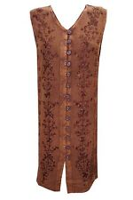 BOho hipy gypsy DRESS RUST BROWN EMBROIDERED BUTTON FRONT sleeveless DRESSES XL