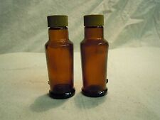 Vintage Brown Clear Glass Bottle Plastic Cap Salt and Pepper Shakers         58