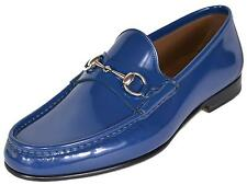 NEW Gucci Men's 387598 Blue Patent Leather Horsebit Loafers Shoes 6 G 7 US