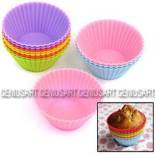 12 Piezas Molde Redondo de Silicona para Hornear Muffin Magdalena Cupcakes DIY