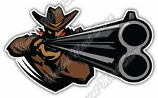 "Cowboy Shooting Rifle Back Off Texas Car Bumper Window Vinyl Sticker Decal 6""X3"""