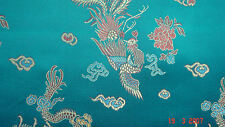 Jade Dragon Chinese print Satin Dress Fabric 112cm Wide SOLD PER METRE