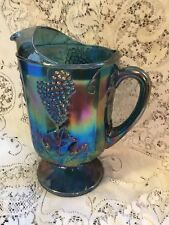 """Carnival Glass Pitcher Blue Grapes Iridescent 9"""" Indiana-FABULOUS COLOR"""