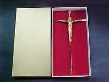 "Lot #2: Vintage 10"" Brass Jesus Christ Crucifix INRI -- Wall Hanging with Box"