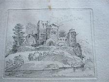 Paysage d'Italie un Chateau a Bologne Gravure du 17ème siècle Jacques Callot