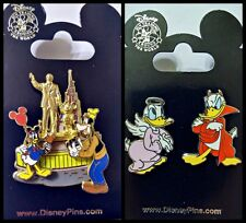 Disney Parks 2 Pin Lot DONALD Devil & Angel + Partners Walt Statue Goofy WDW