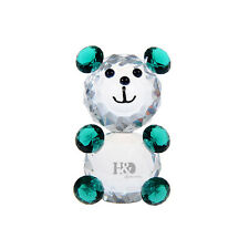 Green 3D Crystal Little Bear Paperweight Animal Figurine Glass Arts Home Decor
