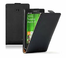 Ultra Slim BLACK Leather Flip Case Cover Pouch For Nokia X Dual SIM / A110