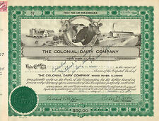 USA THE COLONIAL DAIRY COMPANY stock certificate 1937 ILLINOIS