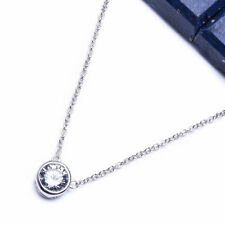 FINE ROUND CZ .925 Sterling Silver Pendant Necklace 16-19""